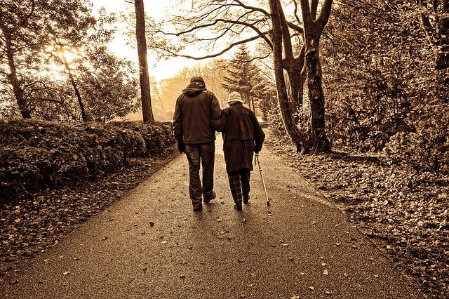 acompanhantes de idosos caminhada